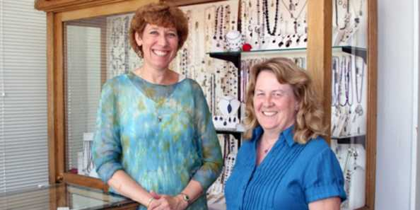 Paula Luba (left) is responsible for repairs and appraisals. Cathy Laing, a G.I.A. Graduate Gemologist, designs jewelry and selects precious stones.
